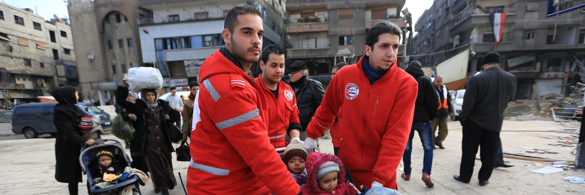 Children, Damascus, Evacuation, SARC Volunteers, Syria, Yarmouk Camp